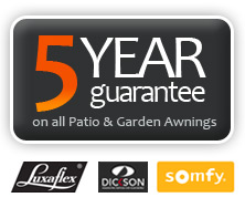 Five year guarantee on all patio and garden awnings